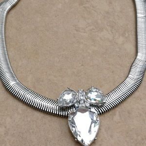 Silver Tone Crystal Cluster Snake Modern Necklace